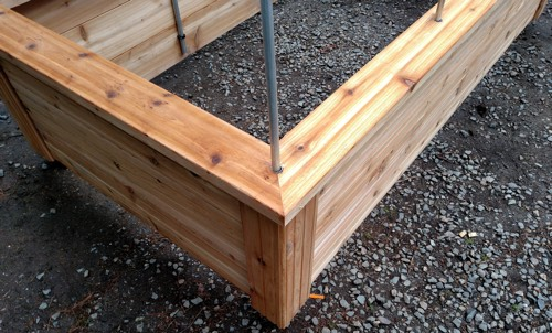 Raised Bed Being Built Showing Quality Materials Cedar Wood And Support Post